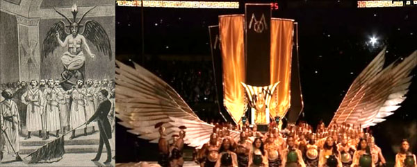 Madonna's Performance at the Superbowl XLVI Halftime Show mirrors the Masonic Mass to Baphomet