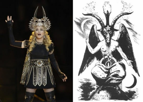 Madonna strikes the Baphomet pose at the Superbowl XLVI Halftime Show