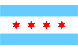 City of Chicago Flag featuring four six-pointed stars