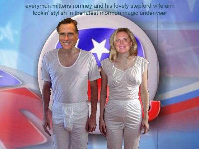 2012 U.S. Presidential candidate Mitt Romney and wife in their Masonic inspired Mormon temple garments