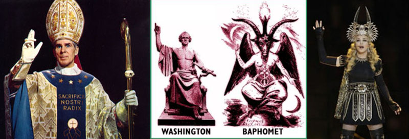 Baphomet posers Fulton Sheen, George Washington, Madonna