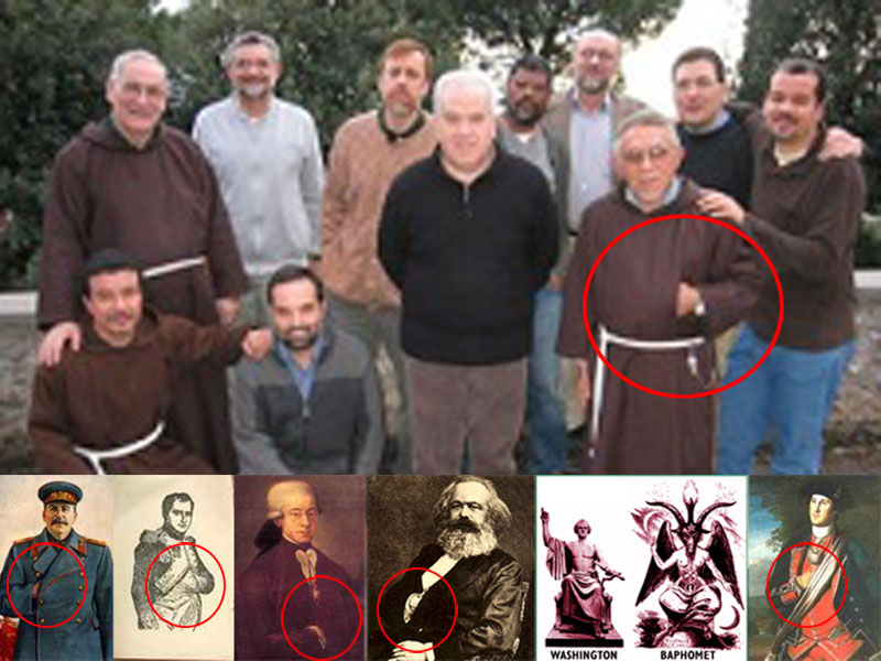 These false Catholic monks were holding the Authentic Third Secret of Fatima and are now claiming ownership of the Catholic Church and the government of Portugal. Notice the Illuminati handsign.