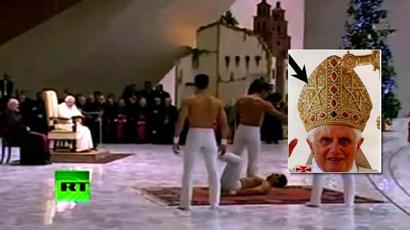 Video of the Jewish Anti-Pope Benedict XVI enjoying gay male dancers.