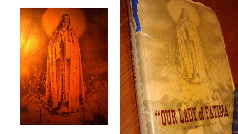 The 1946 Book Our Lady of Fatima features God Our Lady holding an Original 150 Rosary and a Brown Scapular on its cover.