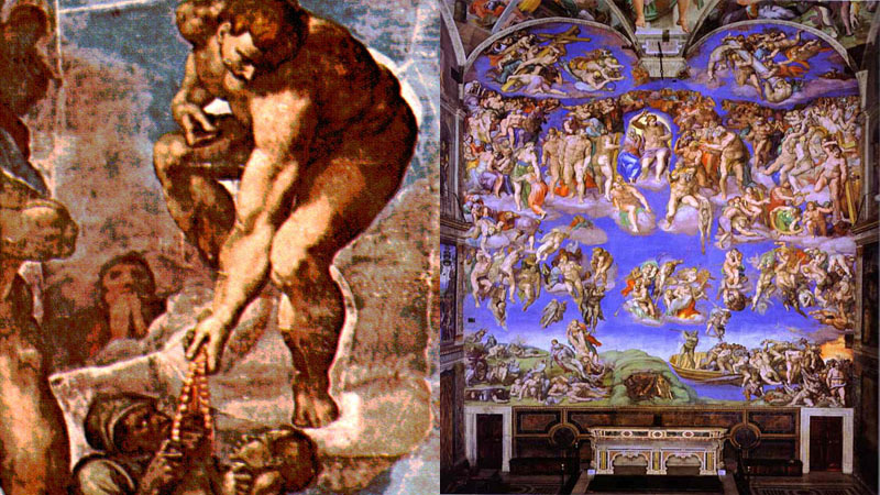 The Last Judgment (1534-1541) Fresco by Michelangelo in the Sistine Chapel of the Vatican features a Rosary without the Satanic Lord beads.