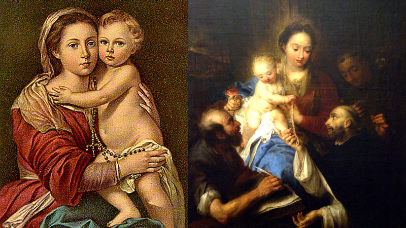 Many paintings from the Middle Ages featured Rosaries without the heretical Lord beads but portrayed God as an infant.
