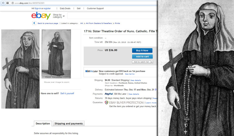 Screenshot of an Ebay listing for a 1716 religious cutout featuring a Catholic Nun with a 50 beaded Rosary without the heretical Lord beads.